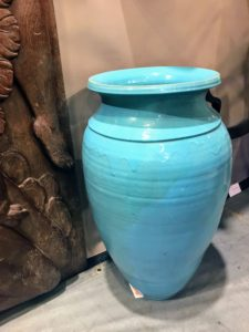 Kevin purchased this lovely urn - it is such a wonderful shade of aqua blue.