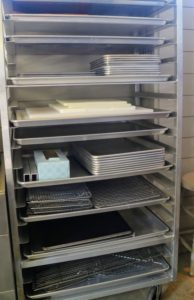 And at the end of the pantry, I have a rolling cart filled with stainless steel cookie sheets, lucite cutting boards and drying racks - always ready and within arm's reach.