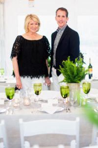 As co-hosts, Kevin and I were asked to design the table decor. We chose a simple palette of green and gray to accent the long white tables. (Photo by Carl Timpone/BFA.com)