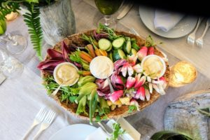The menu was filled with fresh, local produce including farm stand crudité, roasted diablo chicken, grilled tilefish over ratatouille, Gigli pasta and macarons, cookies and fruit for dessert - all donated by Lulu Kitchen and Bar in Sag Harbor, New York.