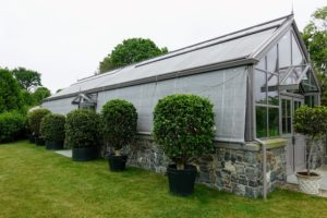 These are old gardenia trees in front of this fabulous greenhouse.