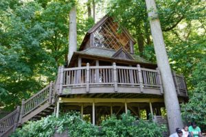 This is the Canopy Cathedral Treehouse, one of three treehouses scattered throughout Longwood. It is a two-story structure inspired by Norwegian stave churches. All three treehouses were built in 2008.