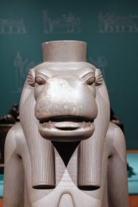 Here is the goddess, Taweret, from the 26th Dynasty 664–525 BC. It is made from greywacke and is from the Egyptian Museum in Cairo. Greywacke is a variety of sandstone generally characterized by its hardness, dark color, and grains of quartz, feldspar, and small rock fragments.