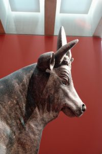 This is the head of the Apis bull, Serapeum, of Alexandria in Egypt, 2nd century AD. It is possibly from the reign of Emperor Hadrian.