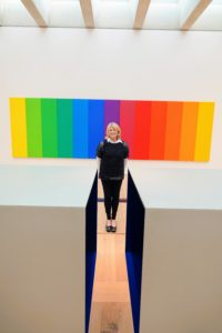 And here I am in front of a piece by artist, Ellsworth Kelly, called Spectrum II, 1923-2015. I am standing behind a Donald Judd piece, 1928-1994, which is untitled.