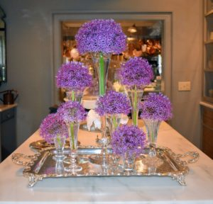 We had beautiful arrangements all around my home showing off the many freshly cut flowers from my gardens. Look at these gorgeous alliums in the servery. These allium blooms are spherical heads of hundreds of tiny star-shaped flowers atop tall, hollow stems.