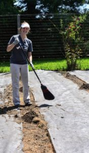 Our new summer intern, Kayley Presby-Gaines, sweeps any extra compost off the weed cloth and onto the 'hills' making the beds look neat and tidy.