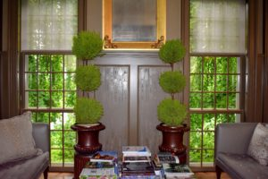 My head gardener, Ryan McCallister, also added various houseplants to decorate the room. These topiaries look so handsome in these antique urns made of the same material used to manufacture sewer pipes. Sewer tile pottery was made by pipe workers who used leftover clay at the end of the work week to create sculptured forms.