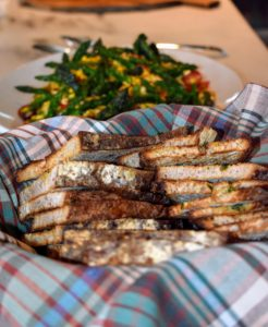 German prepared the herb toast - slices of fresh bread with herbed butter toasted in the oven - it's always a big hit with our guests.