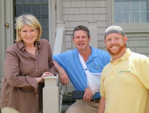 Here I am on my terrace with owner and chief designer for Aqua Scapes East, Tom Dieck, and Dylan Arlotta, who led the fountain building and installation team. http://landscape4life.com/services/water-features
