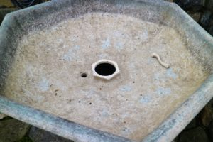 These 19th century fountains are made of hand-casted metal. This is the inside of the fountain basin.