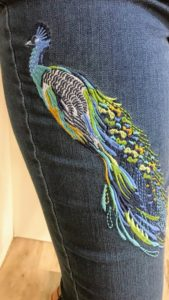 One of the other styles has embroidered peacock feathers - inspired by the gorgeous blue peacocks at my Bedford, New York farm.