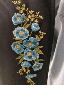 Here is the blue poppy pattern - these flowered denim jeans are all inspired by the flowers in my own personal gardens. This blue poppy is up at Skylands, my home in Maine.