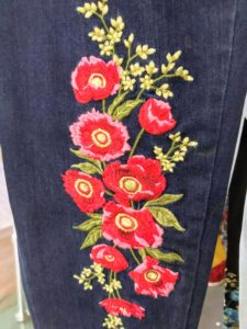 The embroidery is done so carefully after the pants are made. These fit so well with the slimming leg feature.