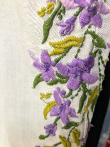These bleached jeans are embroidered with the lavender wisteria - inspired by the beautiful wisteria at my home in East Hampton, New York. This embroidered design runs down the entire leg of the jeans.