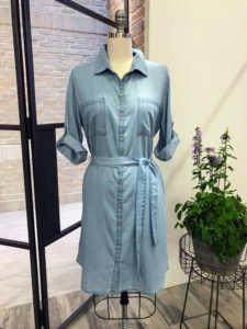 My collection also includes this front denim dress - it is so comfortable, you'll want to wear it everywhere. This dress is very versatile with its 3/4 length rolled sleeves and button tabs. It also has two very useful hip pockets and a removable tie belt.