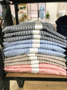 These smart looking tops are my stretch poplin striped blouses in ink blue, Bel Air, perfect khaki and blooming dahlia. These look great paired with the denim jeans.