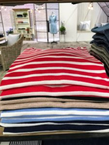 These are my striped elbow sleeve t-shirts in cherry tomato, Bel Air blue, oatmeal heather and ink blue. And what I like about these shirts and all my cotton clothing is that nothing clings - all the pieces fall perfectly on the body.