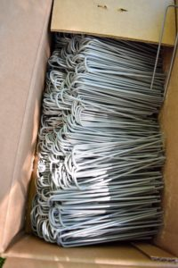 These sod staples are used to keep the netting taut and well secured to the ground.