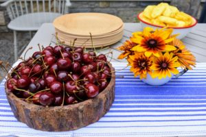 We also had a bowl of fresh cherries. The fresh flowers were cut from my garden earlier in the day.