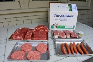 Once the meat is cut, it is all vacuum packed and shipped fresh to your door. This pack is the most delicious assortment of meats. Watch our Facebook LIVE broadcast to learn more details about the meat blends in my Ultimate Grilling Pack. On the top left tray are samples of the cuts of meat Pat uses to make the blends.