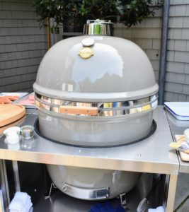 And here is my new Grill Dome from Southern Botanical. The round shape provides even heat distribution while the thick ceramic walls hold in the heat. Plus, you can have it custom colored - of course, I chose the color closest to my signature Bedford Gray.