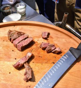 Once the steaks were done medium rare, Pat took one off to cut and taste - look how tender and perfectly cooked they are.