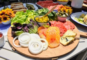We prepared a platter of fresh lettuce from my garden plus the traditional burger fixings - onions, tomatoes, cheese, pickles and of course, the condiments. We cooked lunch for our Facebook production crew and for my outdoor grounds crew - everyone had a terrific meal.