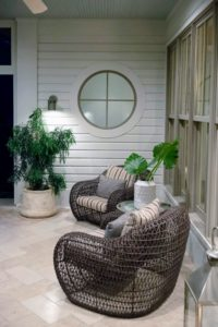 Guests admired these interesting modern wicker chairs on the patio. (Photo by Daniel Gonzalez for Business of Home)