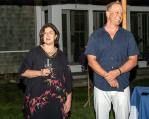 Shane and Traditional Home's Publisher, Beth McDonough, welcomed all the guests and thanked them for attending. They talked about how successful the Showhouse has been - this is the Hampton Designer Showhouse Foundation's 18th year. (Photo by Daniel Gonzalez for Business of Home)