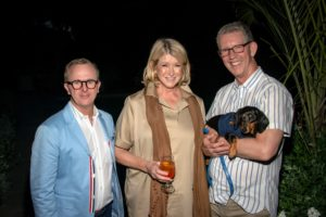 The preview event was held at the home of Peter Wilson and Scott Sanders. Here I am with Scott, Peter and their Dachshund, Bailey. (Photo by Daniel Gonzalez for Business of Home)