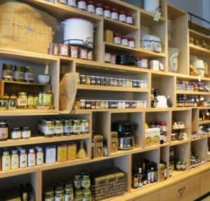 The shop was filled with shelves of interesting gourmet food items, cookware and other kitchen supplies.