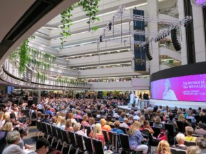 AmericasMart Atlanta consists of four buildings. My interview was held in Building #3. The audience filled most of the 750-seats, and many more watched from the floors above.