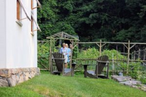 Just before dinner, Phoebe gave us a tour of her gardens. The rustic Adirondack style fence structure was made by local builder, William Rowe.