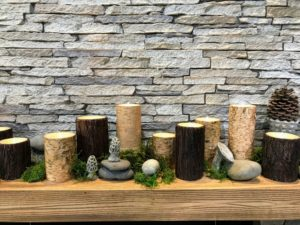 And look at these handsome bark wrapped pillars! Each of these pillar candles gives you at least a thousand hours of glow time per battery pair.