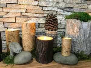 They come in birch or cedar bark and in sets of three - a four-inch, six-inch and eight-inch or a five-inch, seven-inch and nine-inch.