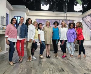 Here I am with some of the QVC models. We're all wearing pieces from my fun, colorful and well-fitting apparel line.