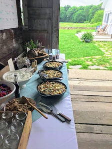 Just off the farm store is the entrance to the antique barn, where many events are held. Here is the beautiful breakfast buffet that was provided before the sit-down discussion with Dr. Vandana Shiva.