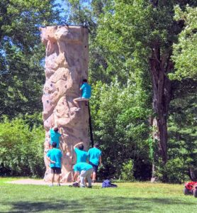 The campgrounds provided many other activities for visitors - this rock climbing wall was not difficult at all for these athletic Sherpas.