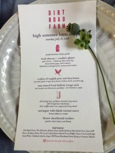 Each place setting had a menu. The dinner included local cheeses, scafata, pan-seared halibut with lovage aioli, meringue with black currant sauce, and flower shortbread cookies with garden mint tisane and raw honey.