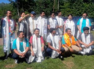 Every year, the Sherpa Society of New York designates a group of members to organize the trip. Phurba Sherpa, with the gold scarf, has been working at my farm for many years. At the end of the weekend, the group is thanked for all the hard work and given a special ceremonial khatak scarf.