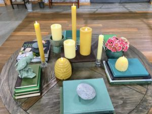 My flameless candles also come in honeycomb tapers, pillars and these fun beehive figural shapes. Plus, you can choose from light or dark beeswax. I love how they look on this coffee table.