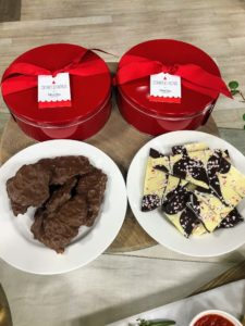 There are two choices - milk chocolate cashew kettle corn brittle or my peppermint bark - both are so delicious.