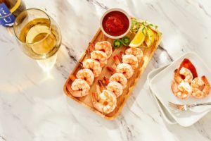 I also shared some of my savory foods. This is wild caught shrimp from the Outer Banks - so delicious, and so tender. You get three pounds of shrimp - about 21 to 25 shrimps per-pound, so they're the perfect size. It also comes with my own cocktail sauce.