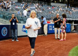 And then it was time to head out to the field. It was very exciting - if you follow my Instagram page @MarthaStewart48, you know I practiced for this pitch several times in my office. (Photo by: New York Yankees)