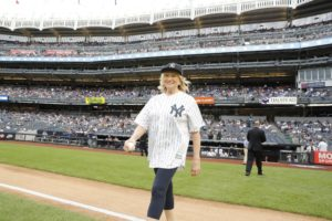 Here I am walking out to the field and to the baseball diamond, which is located in front of the 25 seated sections closest to the field extending from home plate down each baseline. (Photo by: New York Yankees)