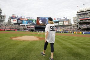 "Here is the back of my honorary baseball jersey, with the number 90 to celebrate my 90th book, ""Martha's Flowers"". (Photo by: New York Yankees)"