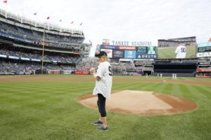 The distance from the mound to home plate is exactly 60-feet 6-inches. Guest pitchers have the option of standing on or slightly in front of the mound. (Photo by: New York Yankees)