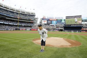 Here I am in position before my pitch. I start out by facing home plate with my feet facing the catcher. (Photo by: New York Yankees)