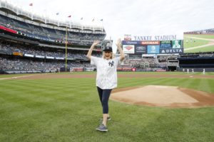 It wasn't the perfect pitch, but I had such a fun time! You can see the video on my Instagram page @MarthaStewart48! (Photo by: New York Yankees)